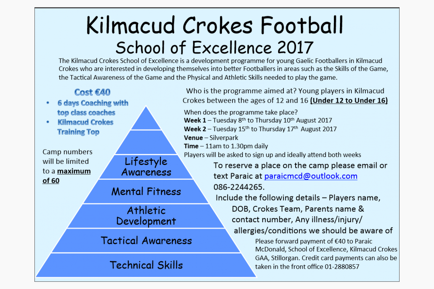 Football School Of Excellence  Starts August 8th in Silverpark