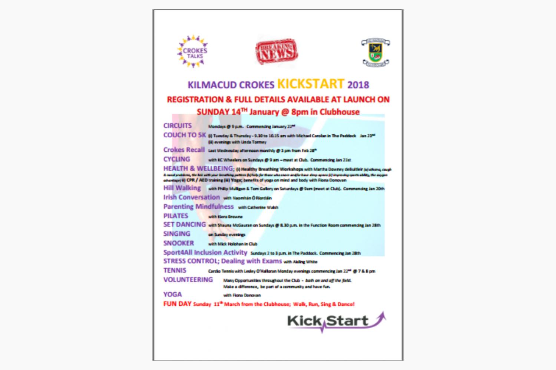 KickStart Crokes 2018  Coming Soon to a Club Near You