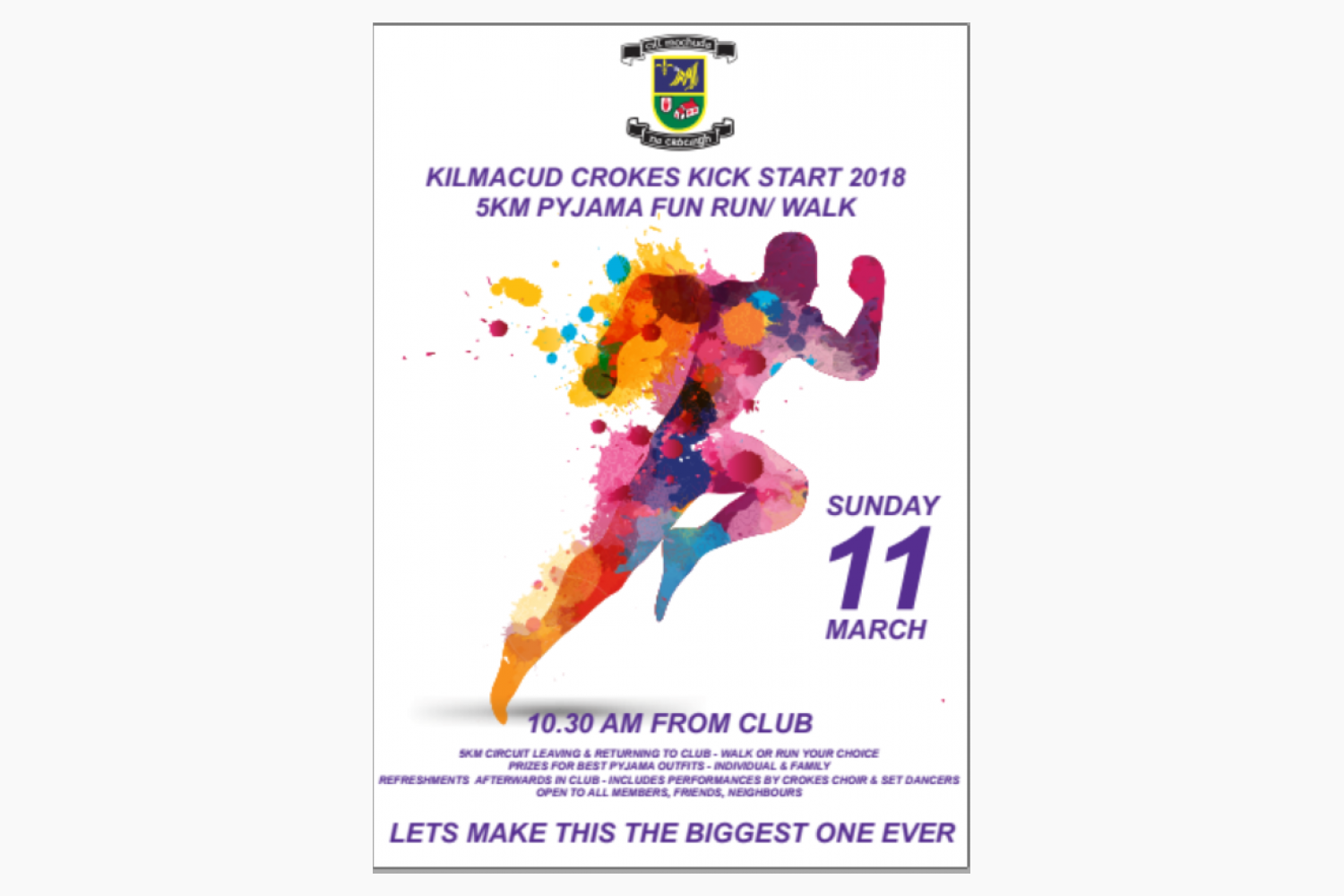 KickStart Crokes End Of program Family/Community 5km Fun Run / Walk Sunday March 11th at 10:30am in Club