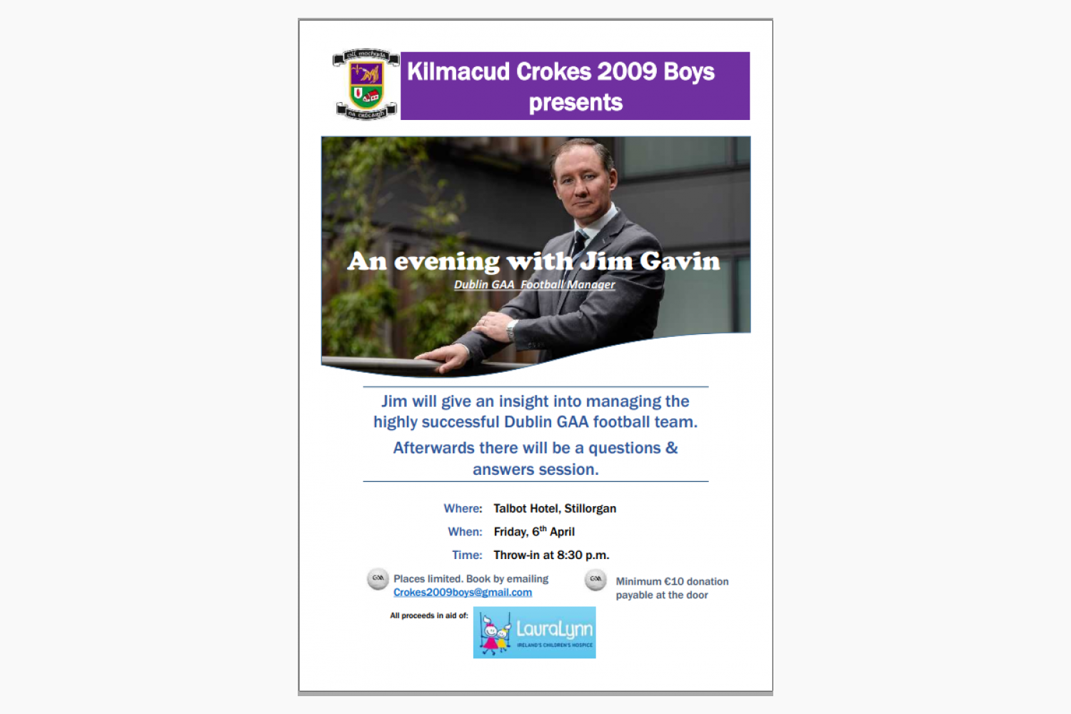 An Evening With Jim Gavin in Support of Laura Lynn