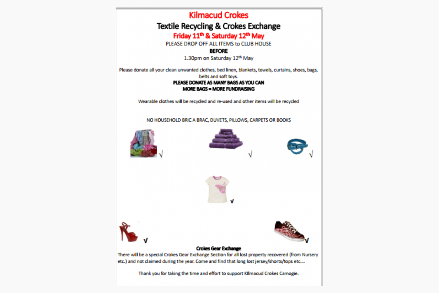 Kilmacud Crokes Textile Recycling & Crokes Exchange  Friday 11th & Saturday 12th May