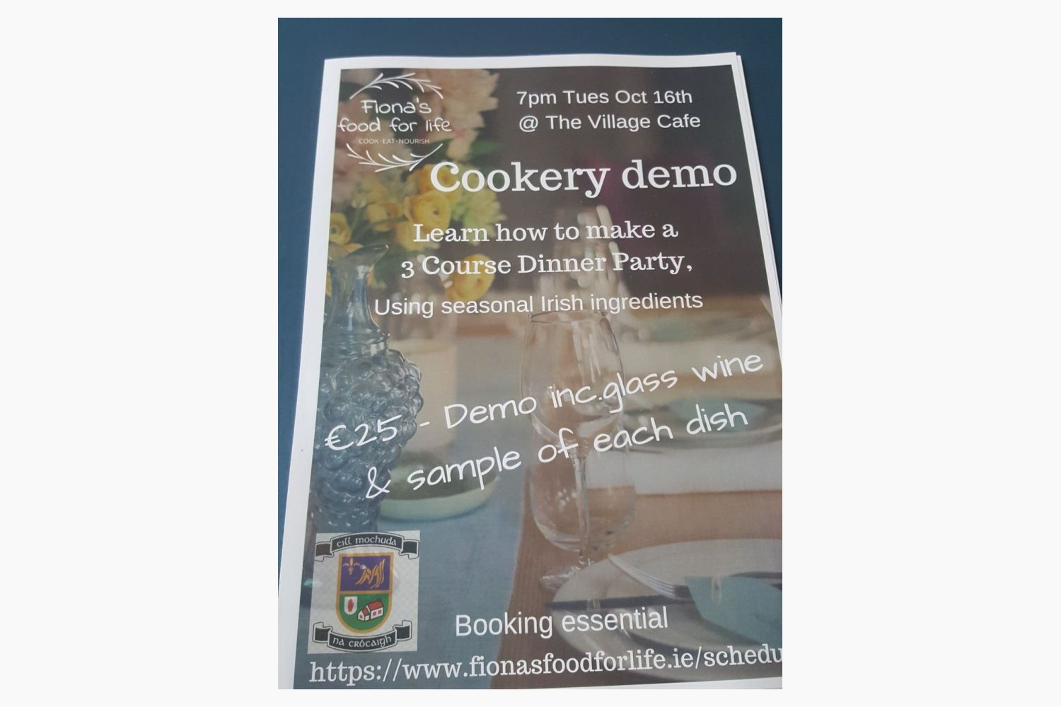 Cookery Demo at the Village Cafe Tuesday Oct 16th at 7pm