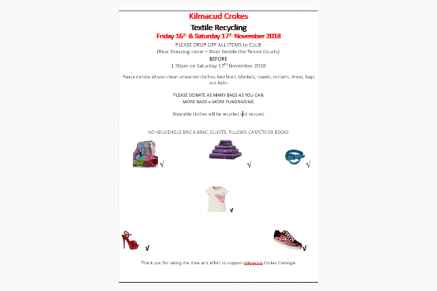 Camogie Textile Recycling  Friday 16th & Saturday 17th November 2018