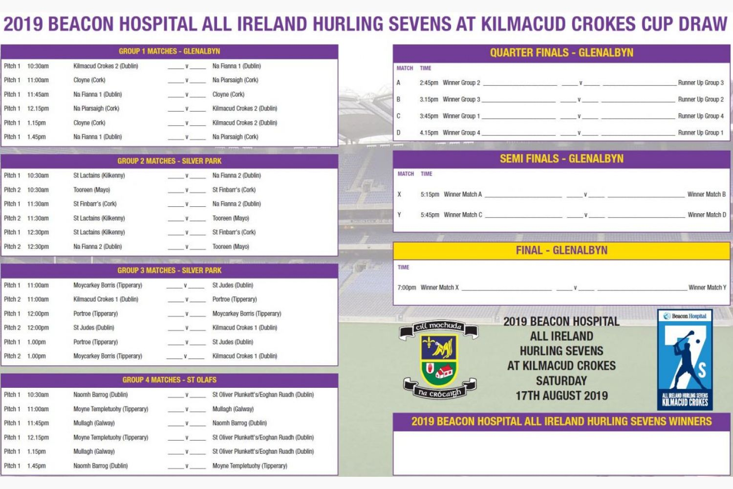 Cup Draw  -  Beacon Hospital All Ireland Sevens