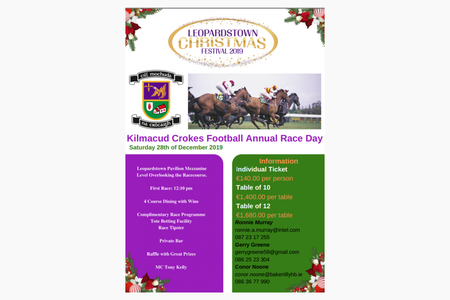 Kilmacud Crokes Football Annual Race Day Fundraiser - Saturday December 28th