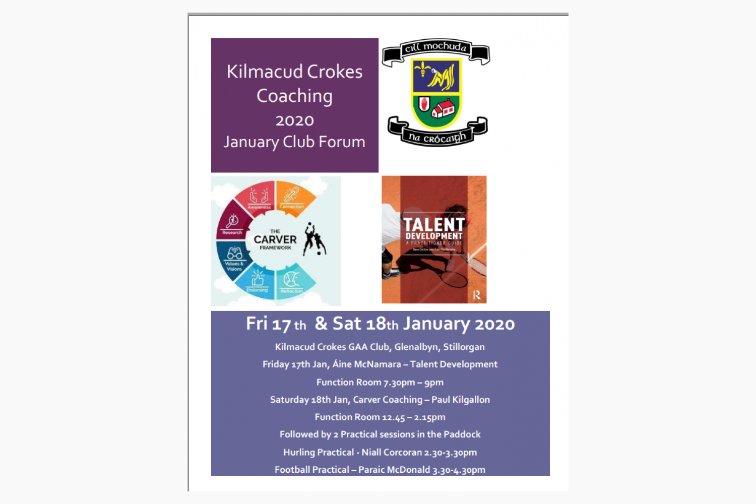 Kilmacud Crokes Coaching 2020 17th / 18th January