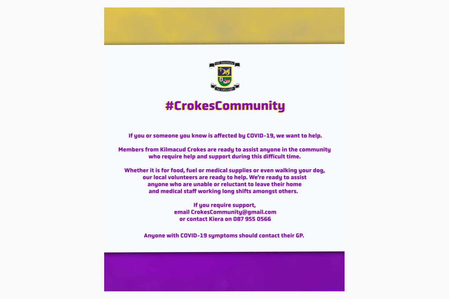 Kilmacud Crokes Community Support During the Covid19 Emergency
