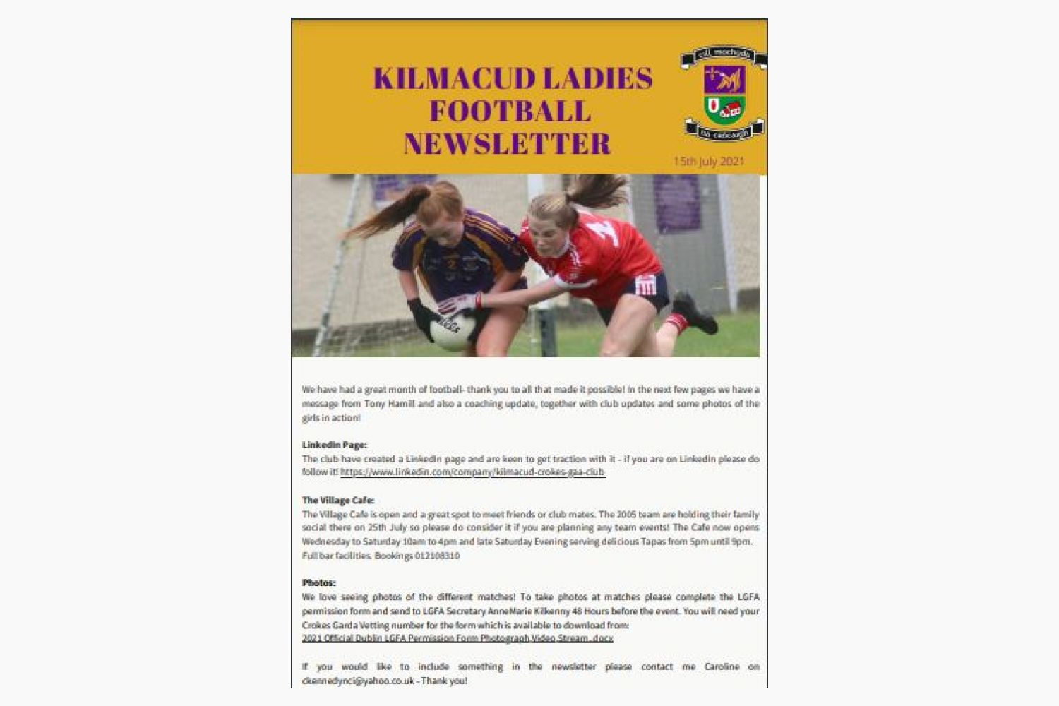 Ladies Football Monthly Newsletter is now live!