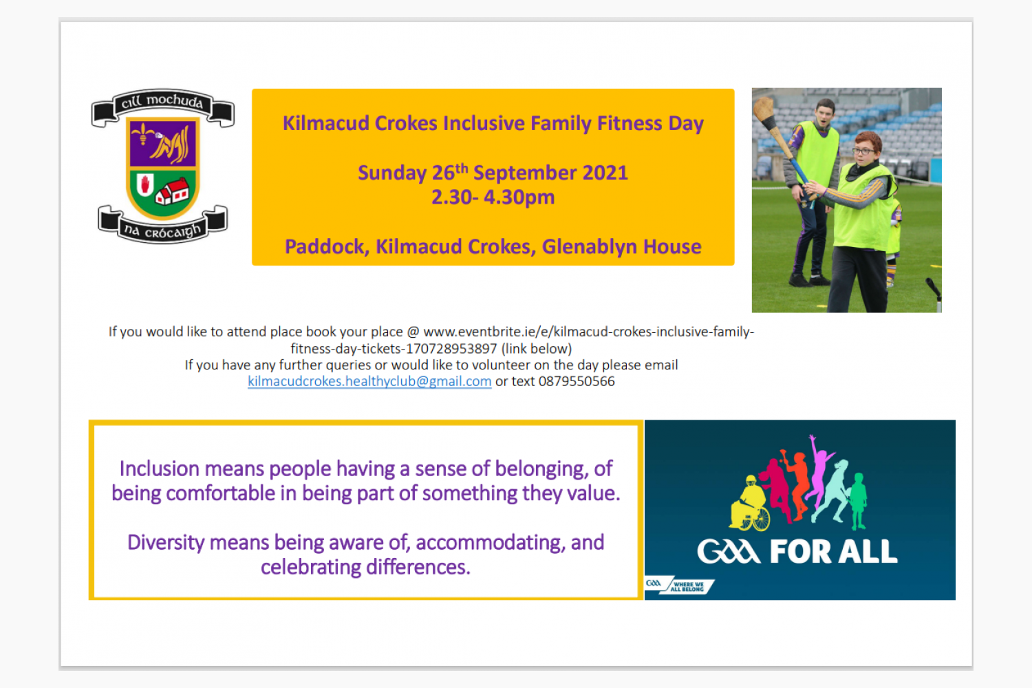 Kilmacud Crokes Inclusive Family Fitness Day  Sunday September 26th