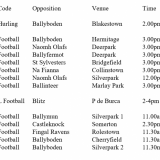 Fixtures Beginning Saturday Movember 4th