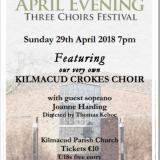 April Evening 3 Choirs Festival Featuring The Kilmacud Crokes Choir - Sunday April 29th 7pm Kilmacud Parish Church