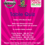 Kilmacud Crokes / BCI M2M 2020 Table Quiz FRiday March 27th 8pm in Club