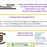 Friday 10th Sept  World Suicide Prevention Day