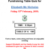 Fundraising Table Quiz for Elizabeth Mc Nicholas