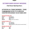 Halloween Opening Hours in Club